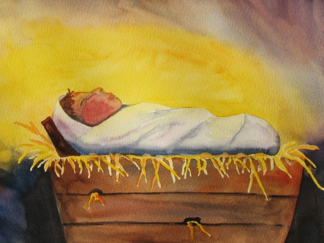watercolor-baby-in-a-manger